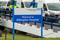 "© Licensed to London News Pictures. 08/07/2020. London, UK. A sign reads ""Welcome to Hillingdon Hospital"". Hillingdon Hospital, a major hospital in west London, has closed to emergency ambulances and emergency admissions after a number of staff tested positive for the COVID-19 coronavirus, in total 70 staff members are now isolating. Photo credit: Peter Manning/LNP"