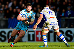 Alec Hepburn of Exeter Chiefs is tackled by Maama Vaipulu of Castres Olympique - Mandatory by-line: Ryan Hiscott/JMP - 13/01/2019 - RUGBY - Sandy Park Stadium - Exeter, England - Exeter Chiefs v Castres - Heineken Champions Cup