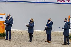 Jury Gelderse Hengsten, Van Der Velden Marloes, Pen Jan, Hamoen Arie, Versteeg Wim<br /> KWPN Hengstenkeuring 2021<br /> © Hippo Foto - Dirk Caremans<br />  04/02/2021