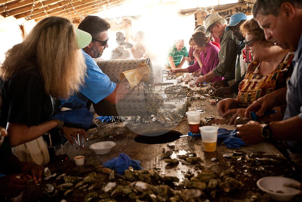 Oyster roast at Bowen's Island restaurant along the Folly River, Charleston, SC.