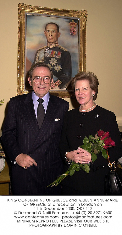 KING CONSTANTINE OF GREECE and  QUEEN ANNE-MARIE OF GREECE, at a reception in London on 11th December 2000.OKB 112