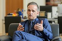 24 JUL 2020, BERLIN/GERMANY:<br /> Heiko Maas, SPD, Bundesaussenminister, waehrend einem Interview, in seinem Buero, Auswaertiges Amt<br /> IMAGE: 20200724-01-021<br /> KEYWORDS: Buero