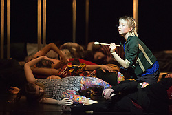 © Licensed to London News Pictures. 10/04/2015. London, England. Hannah Mason on the right. Dress rehearsal of Frame[d]. The National Youth Dance Company returns to Sadler's Wells to premiere Frame[d], a new work created by the 2014-15 Guest Artistic Director Sidi Larbi Cherkaoui. The performance takes place on 10 April 2015 with dancers of the ages from 15 to 20. Photo credit: Bettina Strenske/LNP