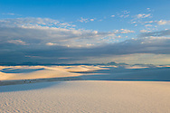 Sunrise over the sand dunes at White Sands National Monument, New Mexico.