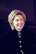 First lady Hillary Clinton laughs during a child care event at the White House February 23, 1999 in Washington, DC.