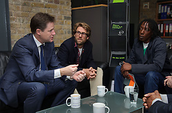 © Licensed to London News Pictures. 20/05/2013 London, UK. Deputy Prime Minister Nick Clegg gives a speech on crime and rehabilitation at NACRO, London SW8. Ahead of the speech Mr Clegg met staff to discuss their work  and spoke to ex-offenders who get help from the charity. NACRO is the UK's largest crime reduction charity. Photo credit : Simon Jacobs/LNP