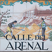 Calle del Arenal. Ceramic street sign in Madrid, Spain