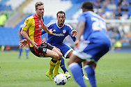 Cardiff City's Kenneth Zohore (c) passes past Birmingham's Michael Morrison (l). Skybet football league championship match, Cardiff city v Birmingham city at the Cardiff city stadium in Cardiff, South Wales on Saturday 7th May 2016.<br /> pic by Carl Robertson, Andrew Orchard sports photography.