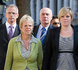 © licensed to London News Pictures.  File picture dated 11/07/2011. L to R Brian Paddick, Bob, Dowler, Sally Dowler and Gemma Dowler, arrive at The Cabinet Office with members of the 'Hacked Off' group to meet Deputy Prime Minister Nick Clegg on 11/07/2011 to discuss the News Of The World phone hacking scandal. Milly Dowler's Killer,  Levis Belfield, has confessed further details of how he tortured, raped and killed the teenager.  Photo credit should read Ben Cawthra/LNP