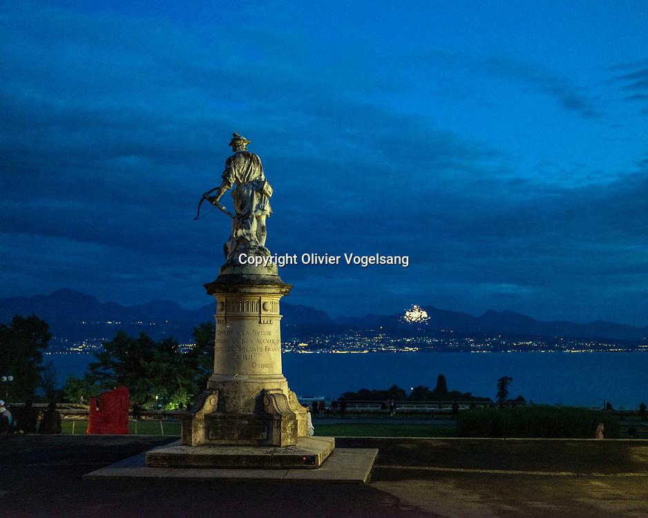 Lausanne, 1er août 2021. Célébration du 1er août à Montbenon avec le président de la Confédératoin Guy Parmelin. © Olivier Vogelsang