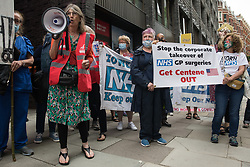 Health workers and supporters attend a rally organised by Doctors in Unite outside the Department of Health and Social Care on 5th July 2021 in London, United Kingdom. The rally was organised to mark the 73rd birthday of the National Health Service and in protest against the sale of one of the UK's biggest GP practice operators to the US health insurance group Centene Corporation.