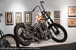 Taber Nash's Nash Motorcycle Company custom 1976 Harley-Davidson Iron Head Sportster in Michael Lichter's Skin & Bones tattoo inspired Motorcycles as Art show at the Buffalo Chip Gallery during the annual Sturgis Black Hills Motorcycle Rally. SD, USA. August 10, 2016. Photography ©2016 Michael Lichter.