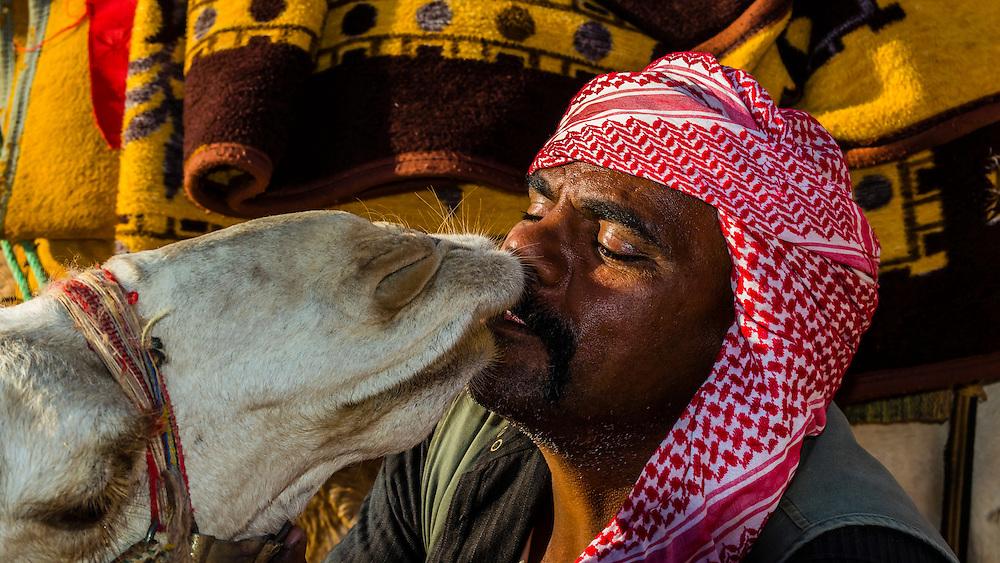 Bedouin man and his camel in the Arabian Desert, Wadi Rum, Jordan.