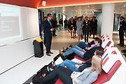 Koningin Maxima opent nieuw Bezoekerscentrum DNB ( De Nederlandse Bank ) . Het bezoekerscentrum draagt bij aan de financiele educatie van jongeren. <br /> <br /> Queen Maxima opens new Visitor Centre DNB (the Dutch Central Bank). The visitor center will contribute to the financial education of young people.<br /> <br /> Op de foto:  Koningin Maxima krijgt een rondleiding door het nieuwe bezoekerscentrum van De Nederlandsche Bank (DNB)<br /> <br /> Queen Maxima gets a tour of the new visitor center of De Nederlandsche Bank (DNB)