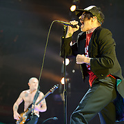 """WASHINGTON, DC -  May 8th, 2012 - Michael """"Flea"""" Balzary and Anthony Kiedis of the Red Hot Chili Peppers perform at the Verizon Center in Washington, D.C. The band was inducted into the Rock N Roll Hall Of Fame earlier this year and released their 10th studio album, I'm With You, in late 2011. (Photo by Kyle Gustafson/For The Washington Post)"""