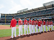 The Angels listen tot he National Anthem before their preseason game against the Chicago Cubs at Angel Stadium Sunday.<br /> <br /> <br /> ///ADDITIONAL INFO:   <br /> <br /> angels.0404.kjs  ---  Photo by KEVIN SULLIVAN / Orange County Register  --  4/3/16<br /> <br /> The Los Angeles Angels take on the Chicago Cubs at Angel Stadium during a preseason game at Angel Stadium Sunday.<br /> <br /> <br />  4/3/16