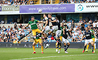 Millwall's Alex Pearce heads clear from Preston North End's Alan Browne<br /> <br /> Photographer Rob Newell/CameraSport<br /> <br /> The EFL Sky Bet Championship - Millwall v Preston North End - Saturday 3rd August 2019 - The Den - London<br /> <br /> World Copyright © 2019 CameraSport. All rights reserved. 43 Linden Ave. Countesthorpe. Leicester. England. LE8 5PG - Tel: +44 (0) 116 277 4147 - admin@camerasport.com - www.camerasport.com