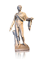 Roman marble sculpture of a male figure restored as Augustus 2nd century AD, inv no 6053, Museum of Archaeology, Italy ..<br /> <br /> If you prefer to buy from our ALAMY STOCK LIBRARY page at https://www.alamy.com/portfolio/paul-williams-funkystock/greco-roman-sculptures.html . Type -    Naples    - into LOWER SEARCH WITHIN GALLERY box - Refine search by adding a subject, place, background colour, etc.<br /> <br /> Visit our ROMAN WORLD PHOTO COLLECTIONS for more photos to download or buy as wall art prints https://funkystock.photoshelter.com/gallery-collection/The-Romans-Art-Artefacts-Antiquities-Historic-Sites-Pictures-Images/C0000r2uLJJo9_s0