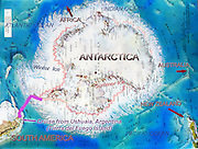 A map of Antarctica and the South Pole marks our 2005 cruise from Ushuaia, Argentina, on the island of Tierra del Fuego, across Drake Passage to Vernadsky Base run by Ukraine in Antarctica. The extent of winter and summer ice is indicated.