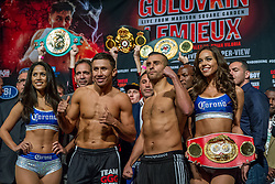 """NEW YORK, NY - OCT 16 Boxing superstar, WBA, IBO and WBC """"Interim"""" Middelweight Champion Gennady """"GGG"""" Golovkin 33-0 (30 KOs) stopped the scale at 159.4 lbs and contenter IBF Middleweight Champion David Lemieux 34-2 (31 KOs) stopped the scale at 159.8 lbs at the official weigh in for their bout saturday at Madison Square Garden on 16 October, 2015 in New York, NY USA. Byline, credit, TV usage, web usage or linkback must read SILVEXPHOTO.COM. Failure to byline correctly will incur double the agreed fee. Tel: +1 714 504 6870."""