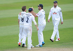Liam Dawson of Hampshire celebrates with team mates after bowling out Jamie Overton of Somerset - Mandatory byline: Dougie Allward/JMP - 07966386802 - 11/09/2015 - Cricket - County Ground -Taunton,England - Somerset CCC v Hampshire CCC - LV=County Championship - Day 3