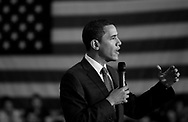photo by EJ Hersom<br /> Barack Obama speaks at a campaign stop in November 2007 at Prospect Mountain High School in Alton, N.H