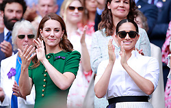 Kate Middleton, the Duchess of Cambridge, Meghan Markle, the Duchess of Sussex and Pippa MIddleton watch the Ladies Singles Final between Serena Williams and Simona Halep at The Wimbledon Championships tennis, Wimbledon, London on July 13, 2019<br /><br />13 July 2019.<br /><br />Please byline: Vantagenews.com