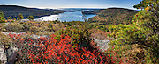 Hike Acadia Mountain Trail for good views of Somes Sound and typically peak fall colors in the second week of October, in Acadia National Park, Bar Harbor, Mount Desert Island, Maine, USA. Hike granite peaks and enjoy Atlantic coastal scenery. Originally created as Lafayette National Park in 1919, the oldest National Park east of the Mississippi River, it was renamed Acadia in 1929. During the last glacial maximum 21,000 years ago, glaciers measuring up to 9,000 feet thick cut into granite ridges, sculpting the fjord-like Somes Sound. The panorama was stitched from 10 overlapping photos.