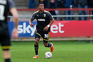 Wimbledon defender Paul Kalambayi (30) in action  during the The FA Cup 3rd round match between Fleetwood Town and AFC Wimbledon at the Highbury Stadium, Fleetwood, England on 5 January 2019.