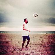 Football star Neymar playing beach soccer
