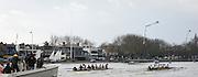 London. UNITED KINGDOM.   Tideway Week. 159th BNY Mellon Boat Race on the Championship Course, River Thames, Putney/Mortlake.  Saturday  30/03/2013    [Mandatory Credit. Intersport Images]<br /> <br /> The 18th Oxford & Cambridge Veterans' Race<br /> From Putney Stone to Furnivall Steps.<br /> <br /> Cambridge lead Oxford<br /> <br /> Cambridge<br /> Bow, Magnus Burbanks, 2, Piers Curle, 3, Peter Jacobs, 4, Lucas Hirst, 5, Guy Pooley, 6, Matt Parish, 7, Stephen Peel, Stroke, Sean Gorvy, Cox, Liz Box<br /> <br /> Oxford<br /> Bow, Hugh Pelham, 2, G. R. Nicholas Holland, 3, Ed Bellamy, 4, Andrew Landon-Green, 5, Jonny Searle, 6, Jeremy Howick, 7, Jan Herzog, Stroke, Kingsley Poole, Cox, Zoe de Toledo