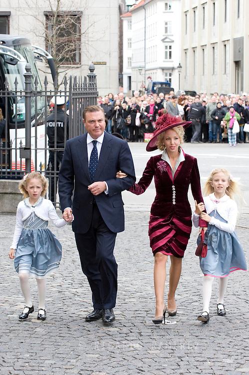 14.04.11. Copenhagen, Denmark..Prince Nikolaos and Princess Tatiana arrival to the Holmens Church to christening ceremony..Photo: Ricardo Ramirez