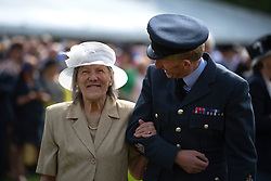 The world's oldest marathon runner, Iva Barr, 91, during a garden party at Buckingham Palace in London.