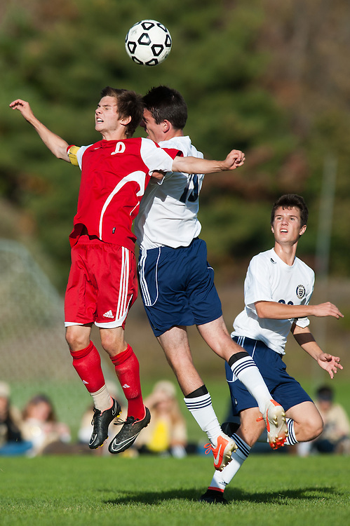 The boys varsity soccer game between the Champlain Valley union Redhawks and the Essex Hornets at Essex High School on Friday afternoon October 10, 2014 in Essex, Vermont.