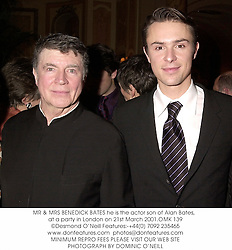 MR & MRS BENEDICK BATES he is the actor son of Alan Bates,  at a party in London on 21st March 2001.OMK 139