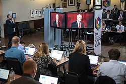 © Licensed to London News Pictures. 31/05/2017. Cambridge, UK. Journalists at work in the spin room at Cambridge University Union as the BBC General Election Debate gets underway at Senate House in Cambridge. Photo credit: Rob Pinney/LNP