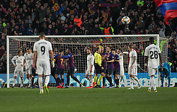 February 6, 2019 - Barcelona, BARCELONA, Spain - Players of Real Madrid and Barcelona  in action during Spanish King championship, football match between Barcelona and Real Madrid, February 06th, in Camp Nou Stadium in Barcelona, Spain. (Credit Image: © AFP7 via ZUMA Wire)