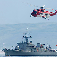 Irish Coast Guard S-61 and Irish Navy ship the LE Ciara at the Salthill Airshow 2007.<br /> Aviation and Aerial Photography by John Allen