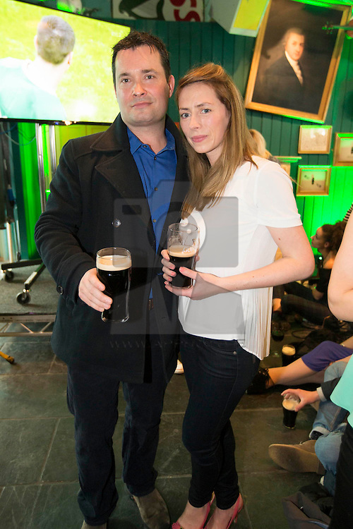 Repro Free: <br /> Killian McMahon and Cliodhna Kelleher pictured at the GUINNESS STOREHOUSE St. Patrick's Festival. The festival is showcasing some of Ireland's best music, food and rugby over the weekend. Throughout the four days the Guinness Storehouse is coming alive with Ceili flash mob performances, a variety of Irish music talent, internationally acclaimed marching bands and contemporary Irish ceili musicians performing spectacular shows. Visitors can also savour a pint of Guinness in the Gravity Bar overlooking the panoramic views of the city, enjoy the limited edition 'Guinness Beef Burger' and learn how to pour their own perfect pint of the black stuff in the Guinness Academy. Enjoy GUINNESS sensibly. Visit drinkaware.ie Picture Andres Poveda
