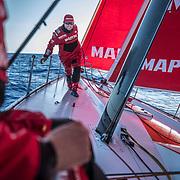 Leg 02, Lisbon to Cape Town, day 10, on board MAPFRE. Antonio Cuervas-Mons estirando una escota de proa a popa. Photo by Ugo Fonolla/Volvo Ocean Race. 14 November, 2017