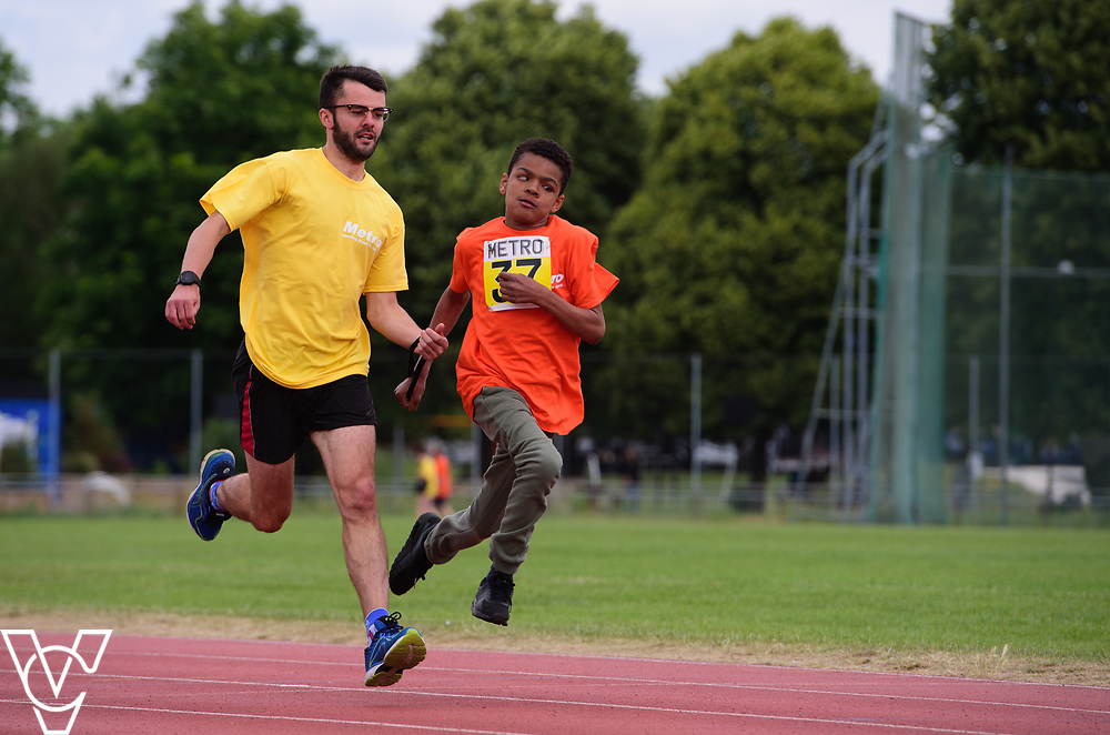 Event: 60 meters<br /> Competitors, from left: Rico Amediku<br /> <br /> Metro Blind Sport's 42nd Athletics Open, held at Mile End Stadium, Tower Hamlets, London.<br /> <br /> Picture: Chris Vaughan Photography for Metro Blind Sports<br /> Date: June 16, 2018