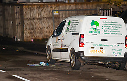 © Licensed to London News Pictures. 24/11/2019. London UK: Blood is seen on the side of a van in Telegraph Mews in Ilford east London after police were called to reports of males fighting at around 6,00am this morning. Detectives were then called to Ilford lane where a 24 year old male was found with stab wounds. He was pronounced  dead in hospital  at around 12.30 this afternoon, Photo credit: Steve Poston/LNP