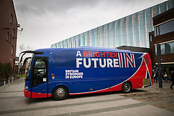 """© Licensed to London News Pictures . 15/04/2016 . Manchester , UK . The """" Britain Stronger in Europe """" campaign coach outside Manchester Metropolitan University's Business School . Photo credit: Joel Goodman/LNP"""
