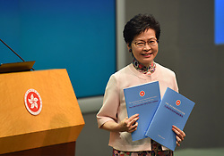 October 10, 2018 - Hong Kong, Hong Kong SAR, China - Hong Kong chief executive, Carrie Lam, addresses a press conference following the delivery of her annual policy speech..Included in the speech was a blanket ban on e-cigarettes and any future variations of the e-cigarette. Hong joins just a handful of countries in the world that have taken this step. (Credit Image: © Jayne Russell/ZUMA Wire)