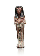 Ancient Egyptian shabtis doll, lwood, New Kingdom, 18th Dynasty, (1538-1040 BC), Deir el Medina. Egyptian Museum, Turin. white background. <br /> <br /> shabti figures began to occur in Middle Kingdom tombs with a twofold nature: on <br /> the one hand, they were meant to be images of their owners, representatives of the deceased in the realm of the Lord of Eternity. <br /> On the other hand, they were also considered to be servants of the deceased, taking the role of the servant statues. The complex <br /> nature of the shabti figure as a substitute of both the owner and his or her servants remains unaltered during the New Kingdom .<br /> <br /> If you prefer to buy from our ALAMY PHOTO LIBRARY  Collection visit : https://www.alamy.com/portfolio/paul-williams-funkystock/ancient-egyptian-art-artefacts.html  . Type -   Turin   - into the LOWER SEARCH WITHIN GALLERY box. Refine search by adding background colour, subject etc<br /> <br /> Visit our ANCIENT WORLD PHOTO COLLECTIONS for more photos to download or buy as wall art prints https://funkystock.photoshelter.com/gallery-collection/Ancient-World-Art-Antiquities-Historic-Sites-Pictures-Images-of/C00006u26yqSkDOM