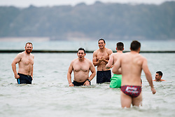 Team manager Gareth Delve looks on as Bristol Rugby take part in a morning after game recovery session in the sea - Rogan/JMP - 29/10/2017 - RUGBY UNION - Jersey Marine Lake - St Helier, Jersey - Jersey Reds v Bristol Rugby - Greene King IPA Championship.
