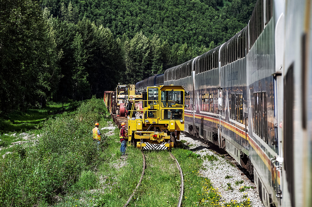 Track repair crew watches as a tourist train passes through the Alaskan wilderness, Alaska, USA.