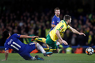 Pedro of Chelsea (L) is sent off after this challenge on Wes Hoolahan of Norwich City (R).  The Emirates FA Cup, 3rd round replay match, Chelsea v Norwich City at Stamford Bridge in London on Wednesday 17th January 2018.<br /> pic by Steffan Bowen, Andrew Orchard sports photography.