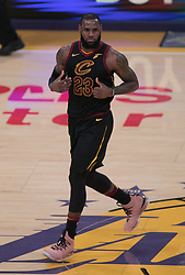 March 11, 2018 - Los Angeles, California, U.S - LeBron James #23 of the Cleveland Cavaliers during their NBA game with the Los Angeles Lakers on Sunday March 11, 2018 at the Staples Center in Los Angeles, California. Lakers defeat Cavaliers, 127-113. (Credit Image: © Prensa Internacional via ZUMA Wire)