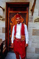 Doorman, Coffee shop Naguib Mahfouz, Khan el Khalili Bazaar, Islamic Cairo, Cairo, Egypt